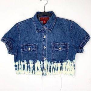 *Tie Dye* Vintage 90s Frayed Denim Crop Top